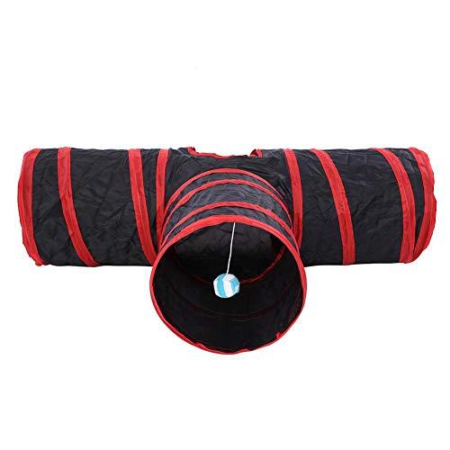 Cat Túnel Plegable 3 Vías Mascota Juguete Juguete Mascota Entrenamiento Interactivo Interior Tubo de Juguete Divertido para Conejos Gatitos Perros(Rojo)