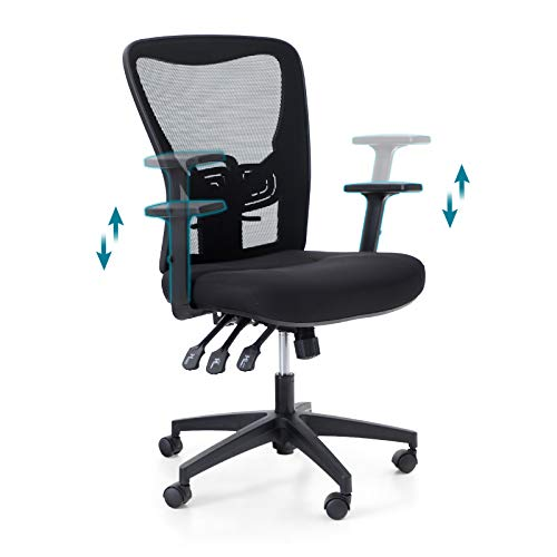 PHI VILLA Office Chair with High Back,3 Adjusters for Height,Back and Rocking,Home Office Desk Chairs with Wheels and Armrest for Women,Men,Short People and Heavy People,Max Laod Bearing up to 250 lbs