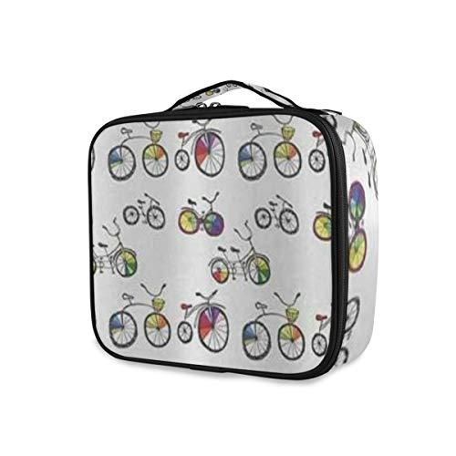 SUGARHE Beachy Fahrrad Hand Drawn Tandem City Bikes Mit Farbigen Felgen Cartoon Style Multicolor,Kosmetik Reise Kulturbeutel Täschchen mit Reißverschluss
