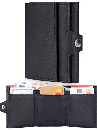 KORUTA® Slim Wallet con Monedero – Certificación TÜV RFID I Mini Card Monedero para hombre I Tarjetero con 7 ranuras para tarjetas – Tarjetero y cartera