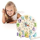Sharplace Montessori Kid's Clock Toy Desarrollo temprano Juguete Ayudas didácticas Juguetes de jardín de Infantes Aprenda a Decir la Hora Reloj Regalos