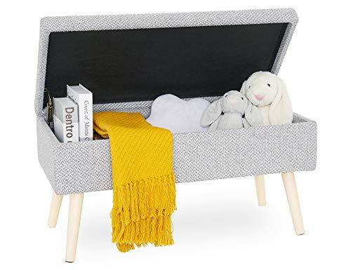 Sitzbank Gepolsterte mit stauraum groß, aufbewahrungsbox mit Deckel betthocker Pouf hocker, schuhbank truhenbank fußbank aus Leinen mit holzbeine, für Flur Schlafzimmer Wohnzimmer 80cm Grau - 2