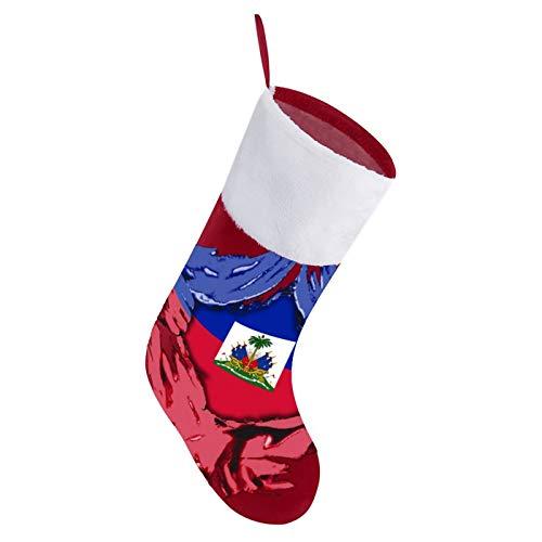 Flagge von Haiti Haitian Tag Weihnachtsstrümpfe mit kurzer, weißer Plüsch-Manschette, Xmas Party Strümpfe Kamin hängende Ornamente Süßigkeiten Geschenktüten für Familie Urlaub Dekoration Supplies