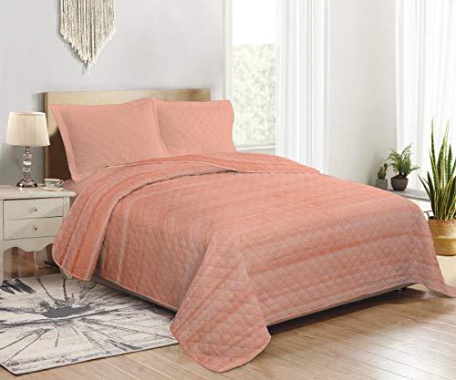 CosiCasa Tagesdecke für französisches Bett, 100 Gramm, 220 x 240 cm, Orange, leichte Steppdecke für Doppelbett, Frühling & Herbst, leichte Decke aus Mikrofaser, mit Pfirsichhauteffekt