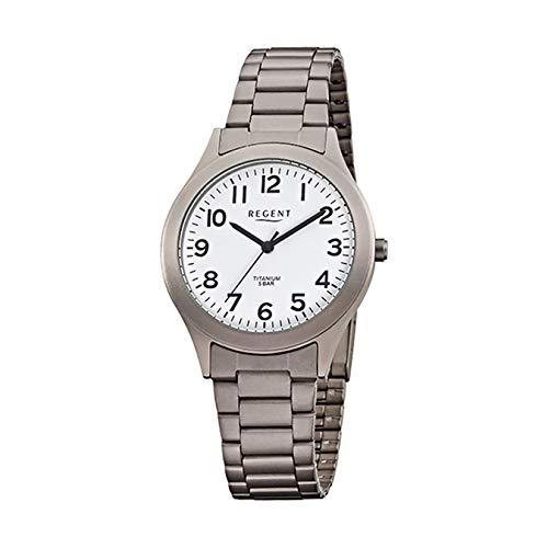 Regent Herren-Armbanduhr Elegant Analog Titan (Metall)-Armband grau silber Quarz-Uhr Ziffernblatt weiß URF837