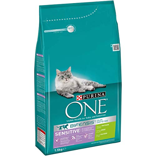 PURINA ONE BIFENSIS SENSITIVE Katzenfutter trocken, reich an Truthahn, 6er Pack (6 x 1,5kg)