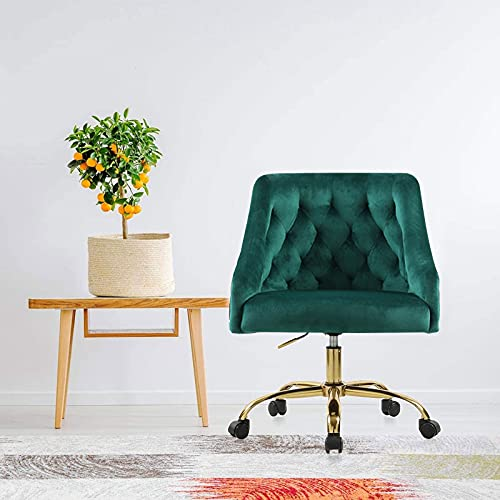 Large Velvet Fabric Swivel Task Chair for Home Office Ergonomic Comfortable Chair - Green with Dirt-Proof S-6030