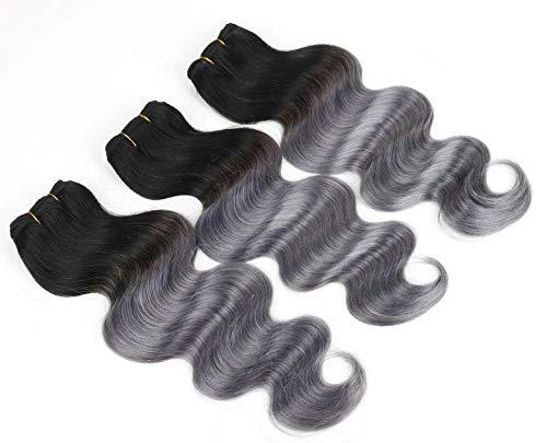 WIGU Paquetes de cabello humano real con raíces negras grises oscuras 14 pulgadas extensiones de cabello humano real de Malasia Sin procesar Tejido de pelo virgen