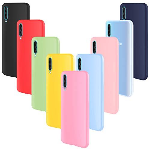 ivencase 9 × Funda Samsung Galaxy A50/ A30S, Carcasa Fina TPU Flexible Cover para Samsung Galaxy A50 (Rosa Gris Rosa Claro Amarillo Rojo Azul Oscuro Translúcido Negro Azul Claro)