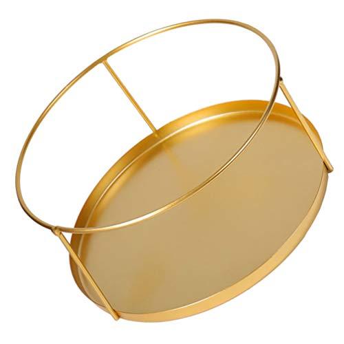 Healifty Bandeja de almacenamiento redonda dorada con bandeja de cristal decorativa para joyas, maquillaje, perfumes y otros (dorada)