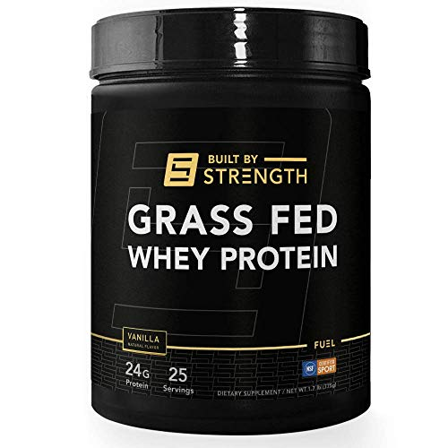 BuiltByStrength Grass Fed Whey Protein - 100 Percent All Natural Vanilla Whey Isolate Protein Powder - Tastes Great and Dissolves Easily in Coffee - Non GMO and Gluten Free (30 Servings)