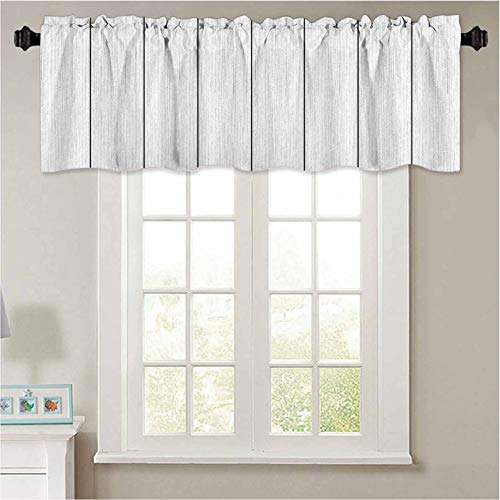YUAZHOQI Short Straight Drape Valance White Wood Plank Texture Background top View Curtain Valance Window Treatment for Living Room 50' W x 18' L