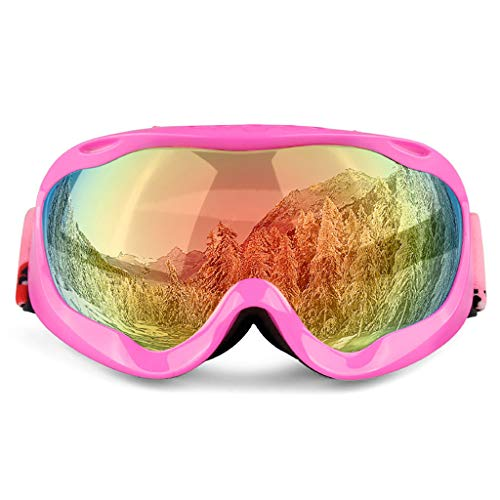 DZLXY PC-materiaal dubbele laag lens anti-mist skibril helm bril motorfiets rijden bril tactische bril, voor ski-schieten paardrijden outdoor sport, roze frame