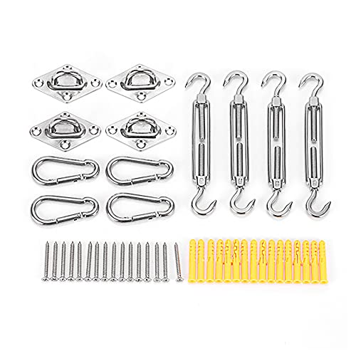 Ysislybin Kit de fijación para toldo de acero inoxidable para velas cuadradas triangulares, accesorios de montaje (12 piezas + 16 tornillos)