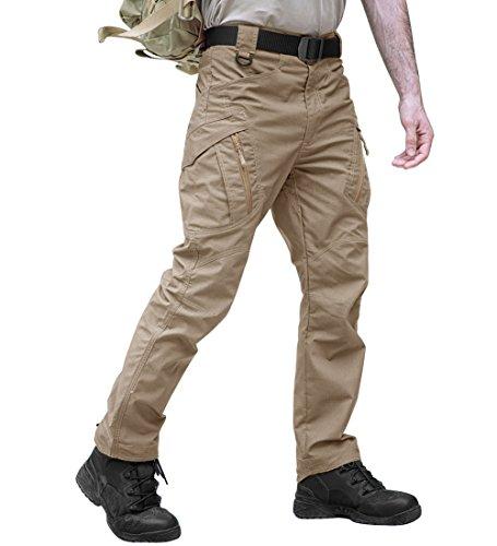 TACVASEN Casual Quick Dry Tactical Ripstop Utility Multi-Pockets Cargo Trouser Pants Khaki,34