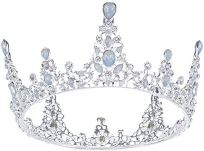 SSNUOY Silver Bridal Wedding Crowns for Women Full Round Rhinestone Tiara Baroque Prom Headband product image