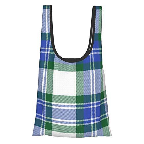TEGUJ Fraser Arisaid - Bolsas de la compra reutilizables, color verde y azul cobalto, respetuosas con el medio ambiente, plegable, bolsa de almacenamiento lavable