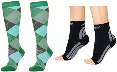 CompressionZ Men s Compression 30 40 mmHg Socks Foot Sleeve Bundle Argyle Green Black Medium product image