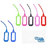Kare & Kind 7x Silicone Hand Sanitizer Protective Cases (empty) - Soft Smooth Holders for 50 ML Bottles - Comes with Soft Adjustable Loops for Backpacks, Keychains - Use for Travel, Home