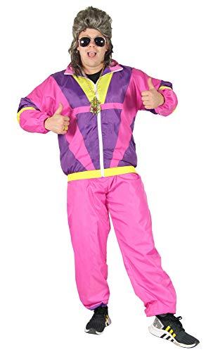 Foxxeo 80er Jahre Kostüm für Erwachsene Premium 80s Trainingsanzug Assianzug Assi - Herren Größe S-XXXXL - Fasching Karneval Anzug, Farbe Pink-lila-gelb, Größe: XL