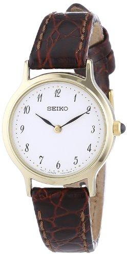 Seiko Quarz Damen-Uhr Edelstahl mit Goldauflage Lederband SFQ828P1