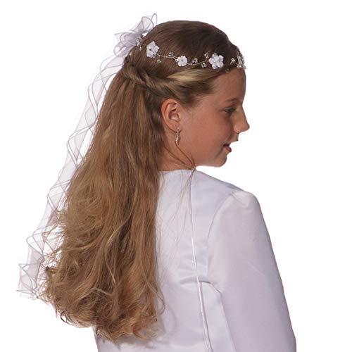 Babystaab Kommunion Haarschmuck Haarkranz Kommunionkleid Haargesteck weiß o ivory (Weiß)