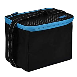 Large insulated compartment 6L capacity Food safe, PVC free lining Separate zip pocket Extra long, adjustable shoulder strap with reflective stitch detail Material: 600D Polyester with PEVA lining Dimensions 23(w) x 16(d) x 16(h) cm