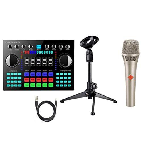 Kuinayouyi K1 Cambiador de Voz HiFi Tarjeta de Sonido en Vivo Tablero Mezclador Streaming Audio 5.0 Universal con MicróFono Gris Plateado