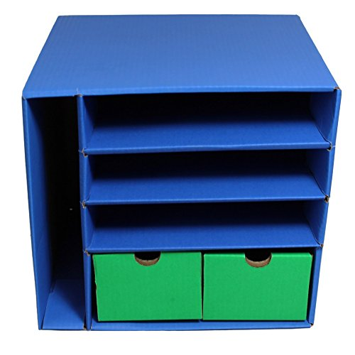 """Classroom Keepers Management Center, 4 Slots and 2 Drawers, Blue, 12-3/8""""H x 13-1/2""""W x 12-3/8""""D, 1 Center"""