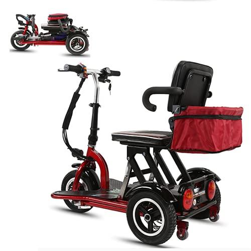EWYI Mobilitäts Scooter, 3 Räder Zusammenklappbar Elektro Roller Mit 300W Leistung Und 3 Gang Schaltung, Leichtes Elektrisches Dreirad Für Ältere, Behinderte, Erwachsene 10AH/35KM