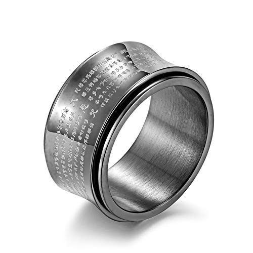 ANAZOZ Ring Männer 12Mm Breit Titan Buddhist The Great Compassion Mantra Drehbar Verlobungsringe Eheringe Trauringe Schwarz für Herren Größe: 60 (19.1)