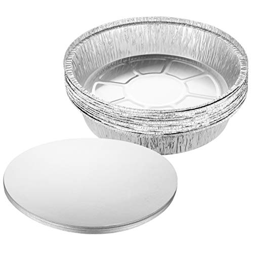 BESTonZON 20PCS 9-Zoll Runde Schwere Dickere Aluminiumfolie Pfannen Lebensmittelbehälter mit Deckel zum Kochen Braten Backen