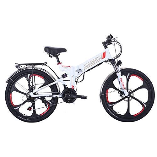 LQRYJDZ 6 Spoke Magnestium Wheel 48V 350W Motor E Bike 10AH Lithium Battery Mountain Electric Bike with Double Disc Brake (Color : White)
