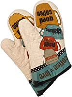 Klmnop Cotton Cute Printed Oven Gloves Double Heat Resistant, Non-Slip Oven Mitts Durable- Soft Cotton Lining, or...