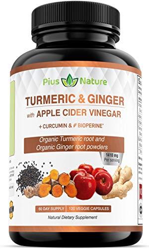 120 Capsules of USDA Organic Turmeric Root Powder, USDA Organic Ginger Powder and Apple Cider Vinegar Powder with Curcumin (95% Curcuminoids) and Bioperine, 1410 mg per Serving in Veggie Capsules