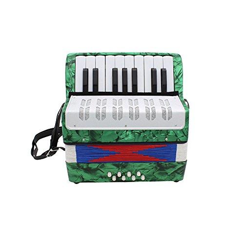Ammoon Mini kleines Akkordeon 17-key 8Bass Musikinstrument Bildung Spielzeug für Kinder Anfänger Amateur-Kinder Weihnachtsgeschenk grün
