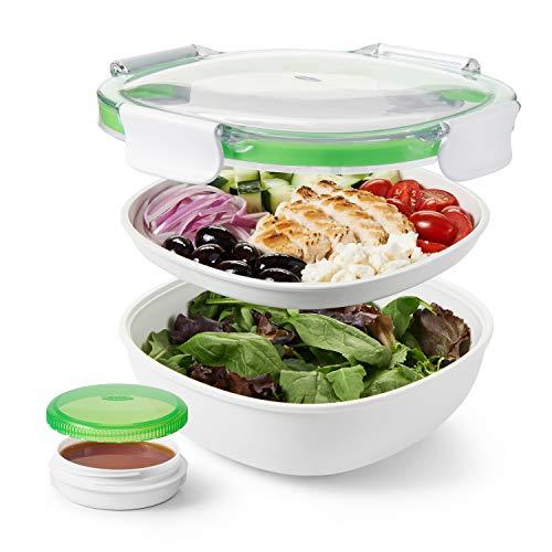 OXO Good Grips, Tupper de cristal, fiambrera para ensaladas con recipiente para aliñar