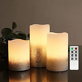 Silver Flameless Led Candles with 4/8hrs Timer Battery Operated Pillar Candles with Remote Control Warm White Flickering Light Textured Wax Finish Long Lasting Batteries Included - Set of 3