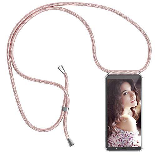 YuhooTech Handykette Kompatibel mit Samsung Galaxy A3 (2017), Smartphone Necklace Hülle mit Band - Handyhülle mit Kordel Umhängenband - Schnur mit Case zum umhängen in Rose Gold