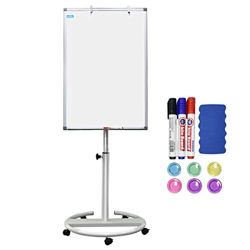 White Board Magnetic Mobile Dry Erase Board Easel 36 x 24 inch Wheels Movable Stand Whiteboard with Flipchart Hook Height Adjustable, White
