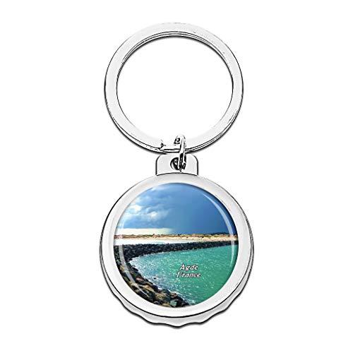 Hqiyaols Keychain Frankreich FKK Strand Cap-d'Agde Cap Flaschenöffner Schlüsselbund Creative Kristall Rostfreier Stahl Schlüsselbund Reisen Andenken