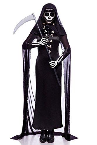 Totengräberkostüm Totengräber Damen Kostüm Halloween Sensenmann Leiche 34-46