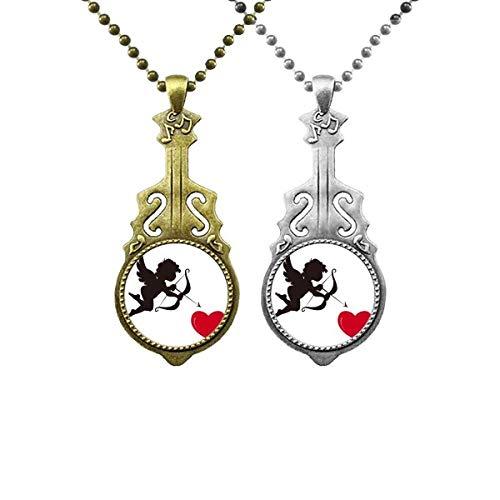 Amor Angel Red Heart Pattern Liebhaber Musik Gitarre Anhänger Schmuck Halskette Anhänger