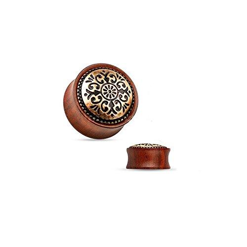 BodyJewelryonline Adultos orgánico Tapones para los oídos - Antiguos Tribales latón embutido Madera Silla Montar Doble Flare Rosa Madera Tapones (12mm - 1/2 Pulgadas)