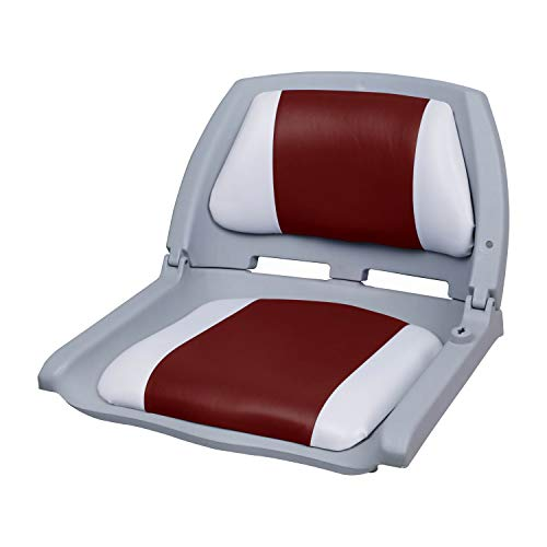 pro.tec] Bootsstuhl/Steuerstuhl - klappbar und gepolstert [rot-weiß] Kunstleder