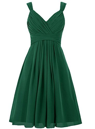 Bridesmaid Dress Short Prom Dresses Chiffon Simple Party Dress for Junior Dark Green L