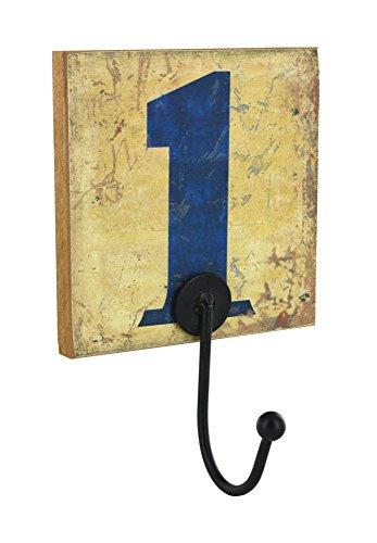Interges kapstok, nummer 1, antiek effect, 1 hoofd, hout, wit en blauw, 12,7 x 8 x 21,5 cm