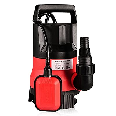 1/2 HP Submersible Pump 110V/60Hz Clean/Dirty Submersible Water Sump Pump Flood Drain Garden Pond Swimming Pool Pump (1/2 HP_Red)