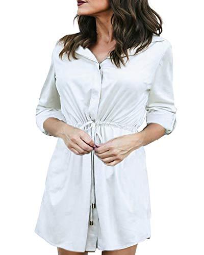 Auxo Damen Bluse V-Ausschnitt Langarmshirt Lose Tops Oversize Longshirts Hemdkleid Beige EU 38/Etikettgröße M