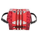 Eujgoov acordeón de concertina, acordeón de concertina de 20 botones, portátil profesional para adultos suministros de instrumentos musicales(rojo)